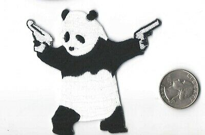 Patch applique  banksy panda with guns embroidered iron on street art