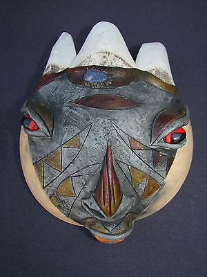 Mexican Hand Crafted Folk Art Coconut Shell Rhino Mask Sculpture Macabre Tribal