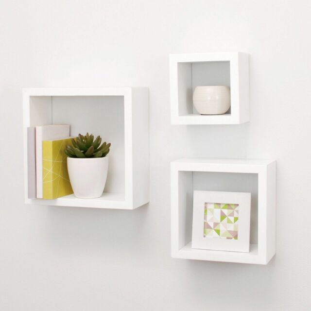 3 Pcs Home Decor Shelves Floating Shelf Box Display Wall Shelves Wood Cube White