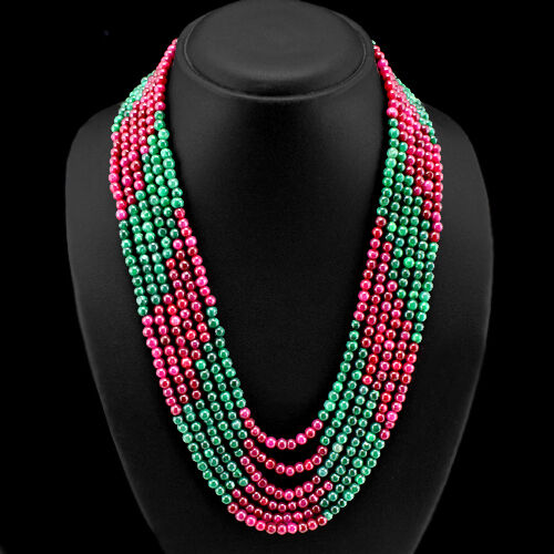 Très jolie 477.00 cts Earth mined Red Ruby /& Vert Émeraude Perles Collier
