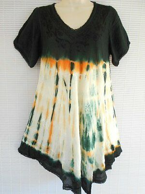 Rayon Embroidery Tunic Top Free Size Cap Sleeves Summer Hippie Boho Multi Color