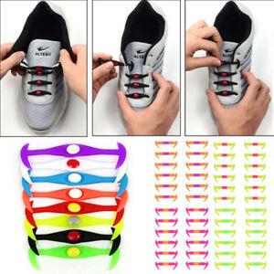 16x Colorful Unisex Lazy Shoe Laces No Tie Shoelace Silicone Elastic Sneaker Set
