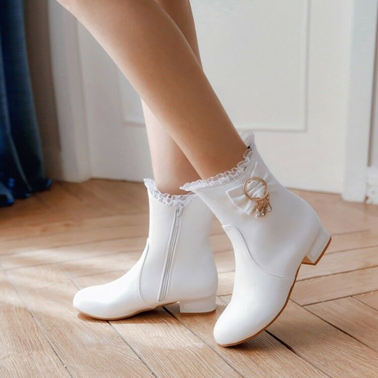 Women Flats Lolita Round Toe Leather Ankle Boots Winter Warm Buckle Strap Shoes