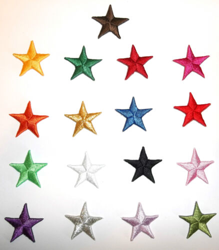 LOT 5 YOUR CHOICE Red Blue Gold Yellow White Silver 3//4 in star patches 257