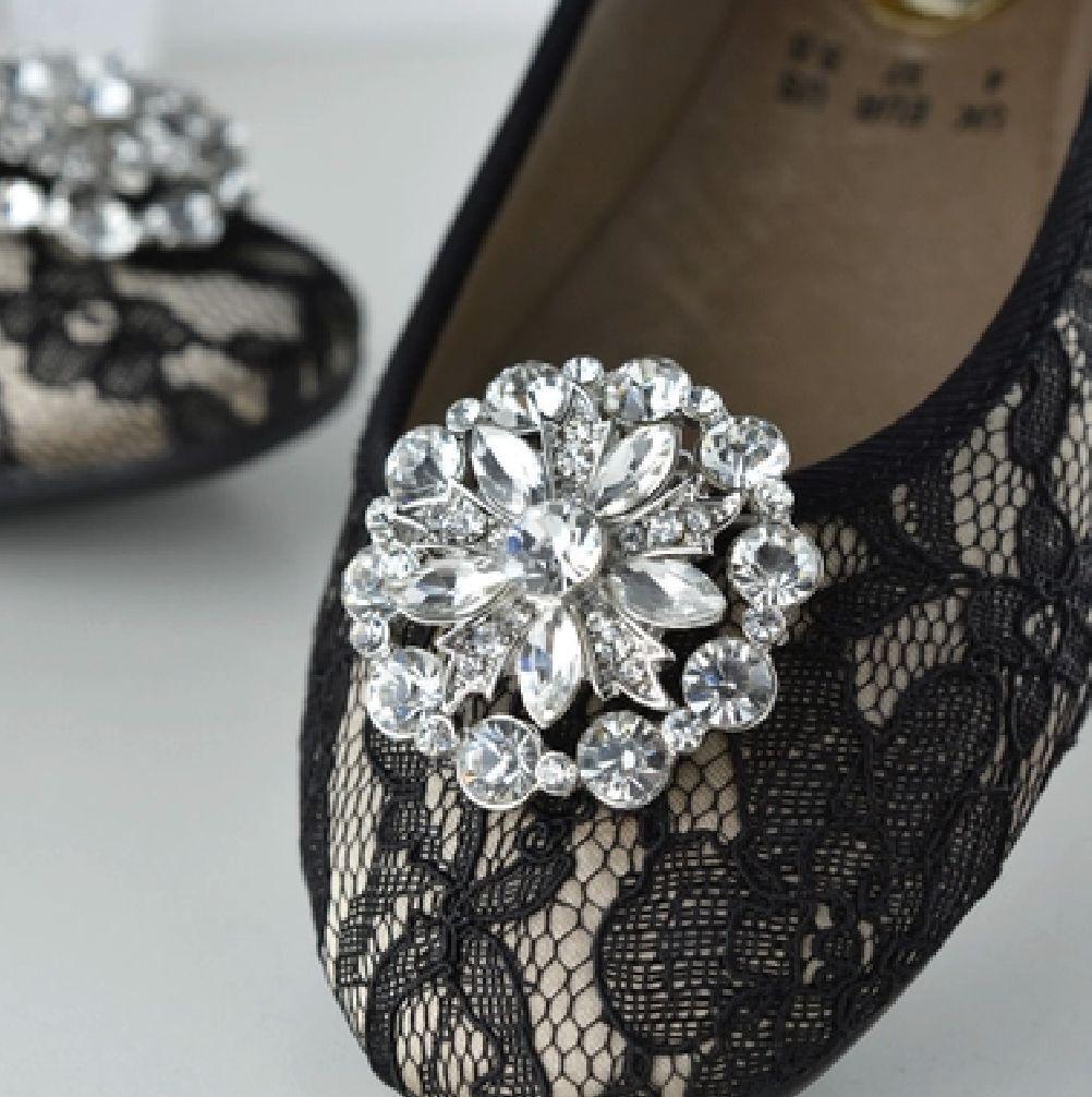 2 Pcs Diamante Crystal Wedding Bridal Flower Wedding Shoe Clips