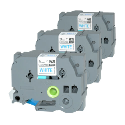 3 Schriftbänder kompatibel zu Brother P-Touch TZE-253 8m//24mm Blau auf Weiß