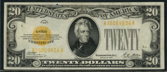FR2402 $20 1928 SERIES GOLD CERTIFICATE -- AU -- WOODS / MELLON BT7692