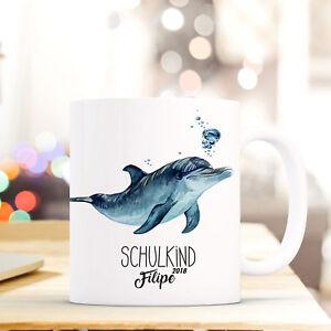 Tasse Becher Delfin Geschenk Einschulung Wunschname Schulkind Schulstart Ts735 Zahlreich In Vielfalt Büro & Schreibwaren