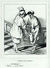 Gavarni: Masques et Visages.69.L'école des Pierrots.1.Pulcinella.Caricatura.1857