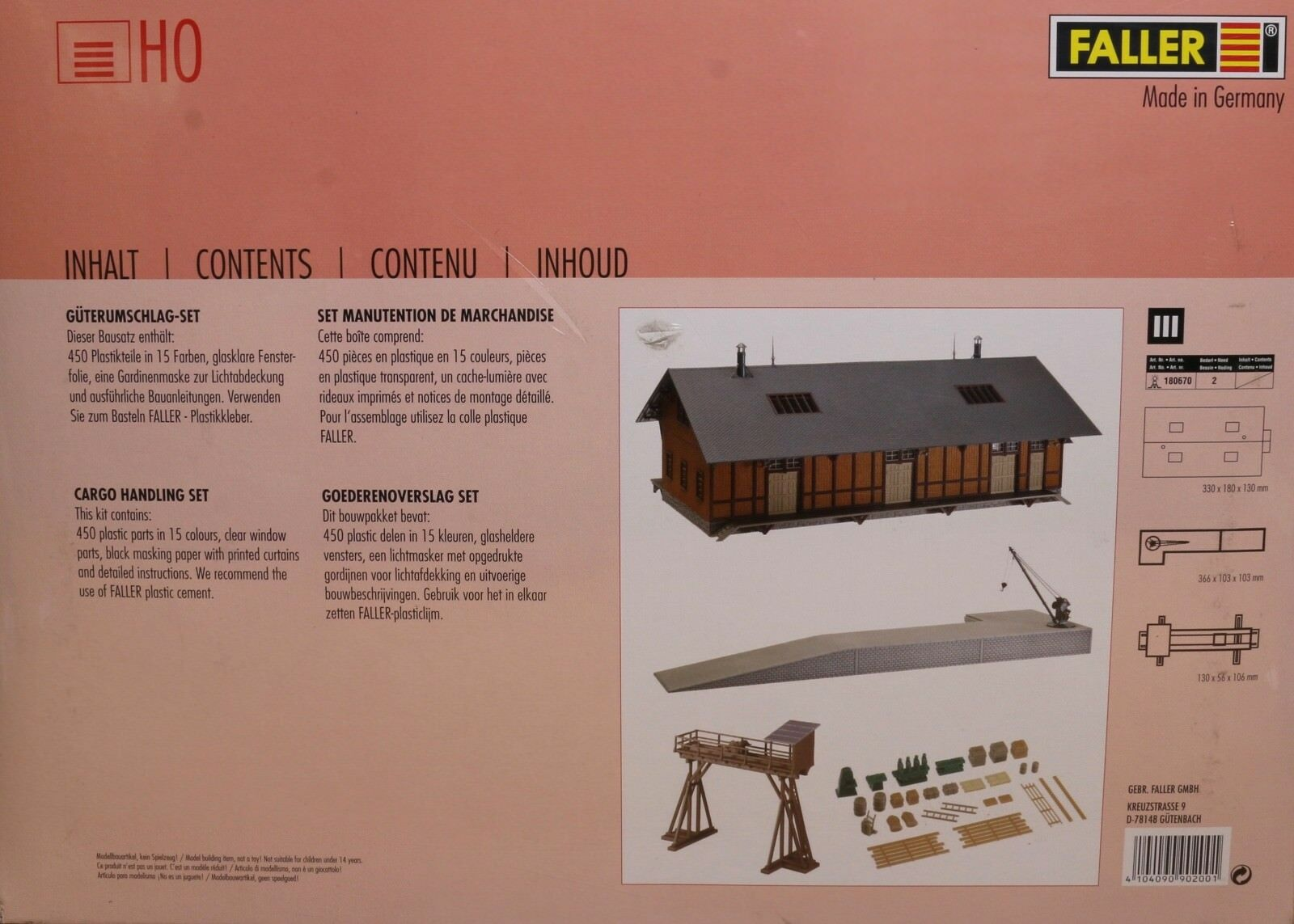 Faller 190200, traccia h0, KIT trasbordo-Set Cargo Handling Set Set Set 92792e