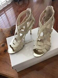 MARC FISHER NALA GOLD GLITTER STRAPPY SANDALS/HEELS SIZE 7M