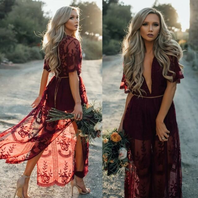 Women Lace Boho Deep V Evening Party Cocktail Prom Beach -9540