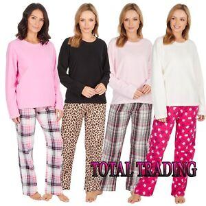 Ladies-Womens-Long-Sleeve-Fleece-Top-FLANNEL-LOUNGE-PANTS-Pyjama-Set-Pjs