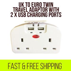 UK-To-EU-Euro-Europe-European-Travel-Adapter-Power-Double-Plug-With-2-USB-Ports