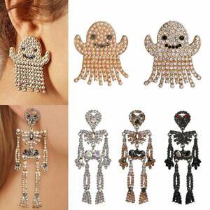 Crystal-Rhinestone-Ghost-Skull-Halloween-Stud-Earrings-Drop-Dangle-Jewelry-Hot