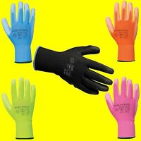12 PAIRS WORK GLOVES NEW PU COATED  BUILDERS MECHANIC CONSTRUCTION GRIP
