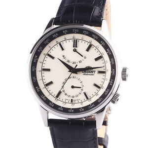 NEW ORIENT World timer Power Reserve Sapphire Automatic Ivory Watch FFA06003Y