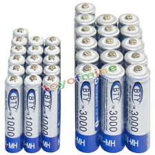 16 AA 3000mAh + 16 AAA 1000mAh battery Bulk Nickel Hydride Rechargeable 1.2V BTY