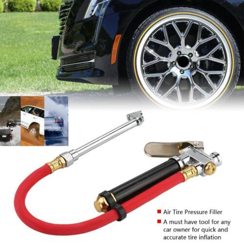Car Air Tire Pressure Filler Inflator Gauge Dual Chuck Air Compressor Hose Tool