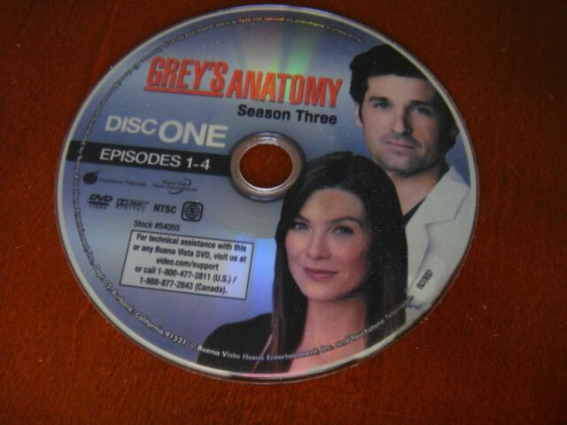 Greys Anatomy - The Complete Third Season (DVD, 2007) DISC ONE ONLY!  NO CASE!