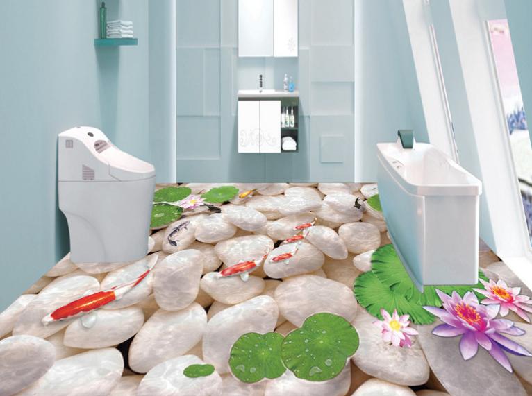 3D Water Ripple Fish 77 Floor WallPaper Murals Wall Print Decal AJ WALLPAPER US