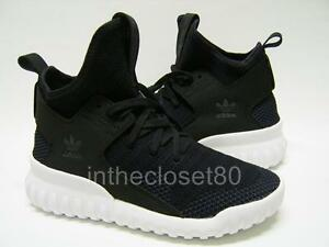 Image is loading Adidas-Tubular-X-PrimeKnit-Black-Grey-Juniors-Womens- 7f004e7917