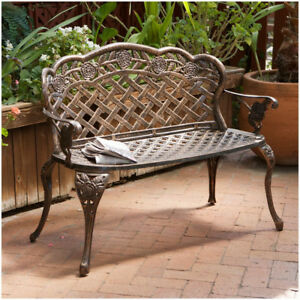 Surprising Details About Rustic Garden Bench Patio Loveseat Sturdy Cast Aluminum Antique Copper Finish Gmtry Best Dining Table And Chair Ideas Images Gmtryco
