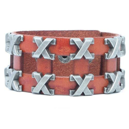 Lederarmband Armband Herren Männer Damen Nietenarmband Leder Biker Rocker Kreuz