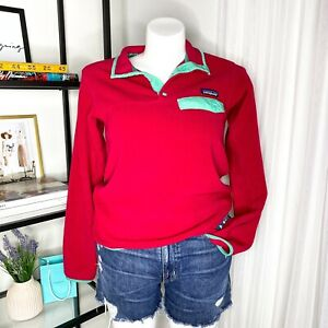 Patagonia-Synchilla-Snap-T-Fleece-Red-Rasberry-Pullover-Sweater-Women-s-Small