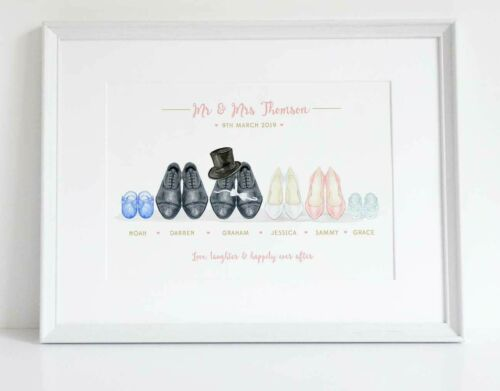 Wedding Shoes Bridal Party Mr /& Mrs Personalised Print Keepsake Gift UNFRAMED