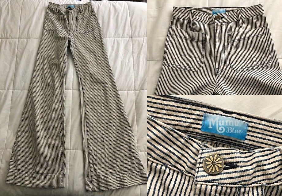 Blau X me montrer votre MUMU 25x36 Indigo Stripe Farrah Pantalon flare denim jeans