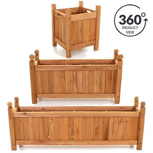 Image Is Loading Wooden Garden Planters Outdoor Plants Flowers Pot Square
