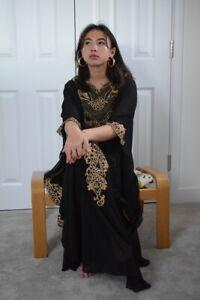 Arabian kaftan black abaya gothic boho hippy lace bohemian  maxi dress hand made