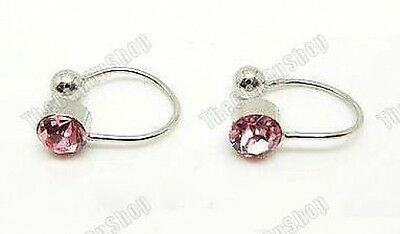 4mm CRYSTAL comfy U CLIP ON silver STUDs stud earrings