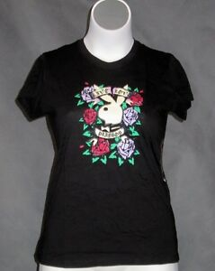 NEW-Official-Black-PLAYBOY-Bunny-Live-Love-Roses-T-Shirt-Top-Sizes-12-24-0x-3x
