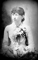 ANTIQUE 8 x 5 GLASS PHOTO NEGATIVE - 1860-1890 -  YOUNG LADY WITH CURLY HAIR
