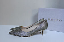 sz 10.5 / 40.5 Jimmy Choo AZA Light Bronze Glitter Pointed Toe Pump Heel Shoes