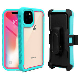 For-iPhone-11-Pro-Max-Rugged-Case-Hybrid-Bumper-Frame-Clear-Cover-with-Belt-Clip