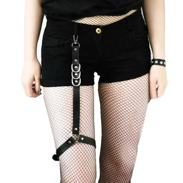 Ledergeschirr Damen Oberschenkelgurte Bein Strumpfgürtel Gothic Sexy Stocking