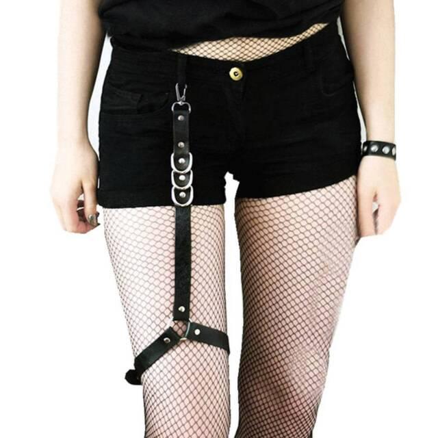 769435f2074 Leather Harness Women Thigh Straps Leg Garter Gothic Sexy Stocking Bondage A