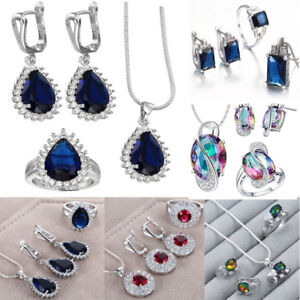 925-Silver-Jewelry-Set-Crystal-Earring-Ring-Necklace-Pendant-Statement-Wedding