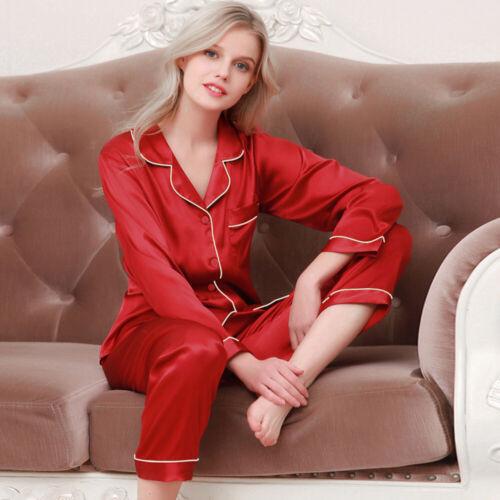 Femmes Satin Soie Manches Longues Pyjama Ensemble Pijama Combinaison