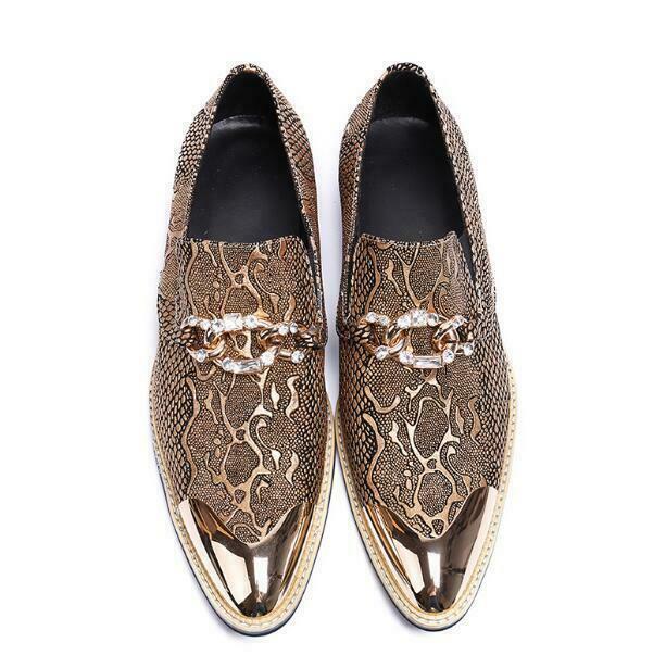 Men's Fashion Serpentine Metal Decor Pointy Toe Slip On Loafers Nightclub Shoes