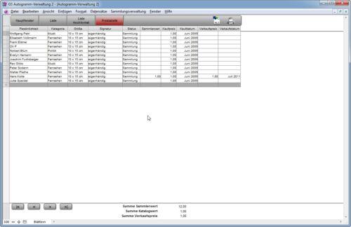 Software zur Verwaltung Ihrer Autogrammsammlung GS Autogramm-Verwaltung 2