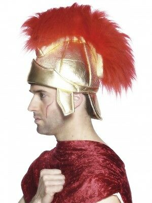 Mens Roman Helmet Gold Red Feather Mohawk Hat Headpiece Armor Costume Adult NEW