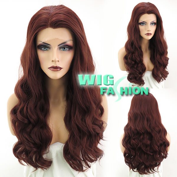 "24"" Heat Resistant Long Wavy Reddish Brown Lace Front Synthetic Wig"