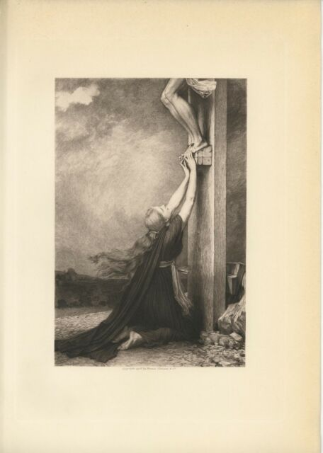ANTIQUE SORROW MARY MAGDALENE JESUS CHRIST CRUCIFIXION CROSS RARE L/E ART PRINT