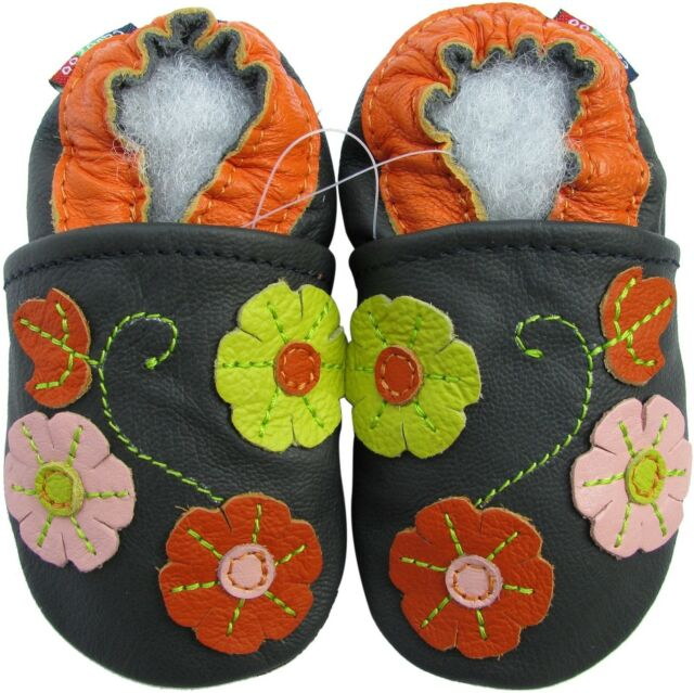 carozoo 3 flower leaf navy blue 3-4t soft leather kid shoes