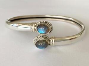 925-Sterling-Silver-Bangle-Bracelet-Labradorite-Gemstone-Open-End-Solid-Women