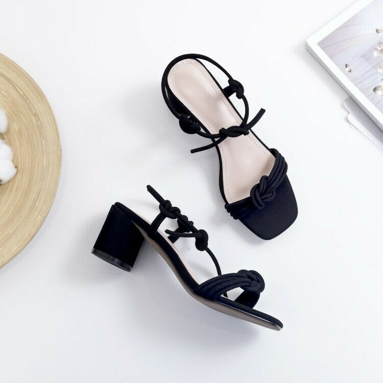 2019 Ladies Sandal Square Toe Block Heels Lace Up Up Up Slip On Causal Fashion shoes 397523